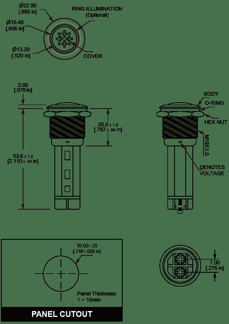 LF19 buzzer with LED ilumination shell