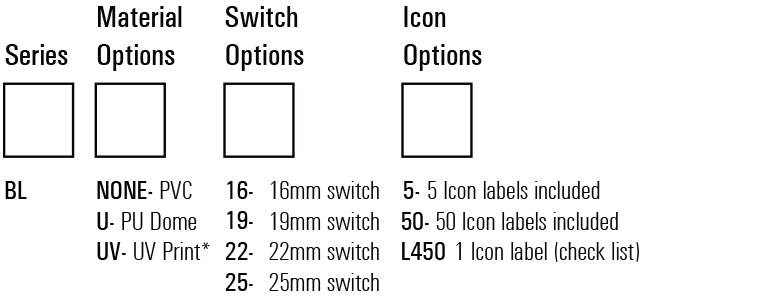 Backlit LED switch Label Kit