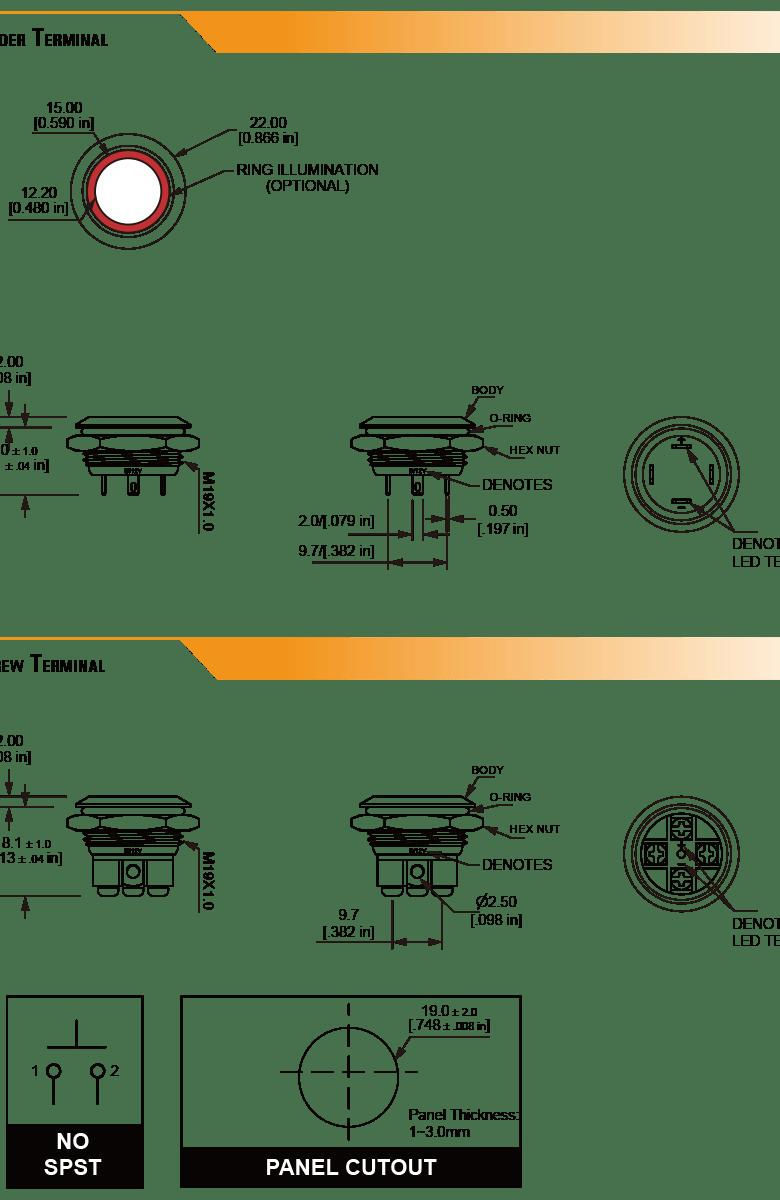 L19U Ultra Short Anti-vandal switch
