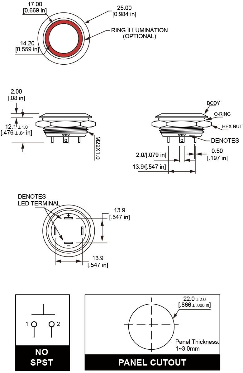 L22U Ultra Short Anti-vandal switch