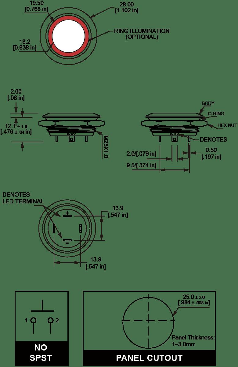 L25U Ultra Short Anti-vandal switch