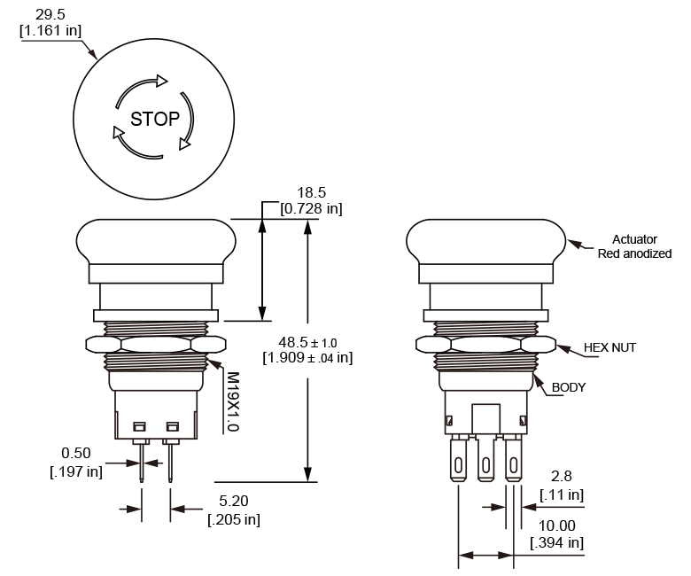 ES19 Sooth Edge Emergency Stop Switch