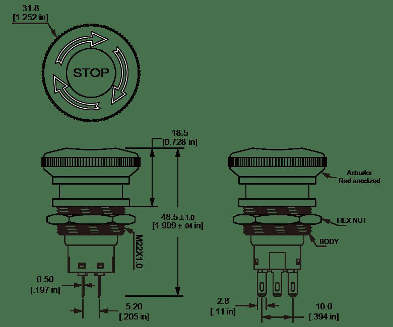 ES22 knurled EdgeEmergency Stop Switch