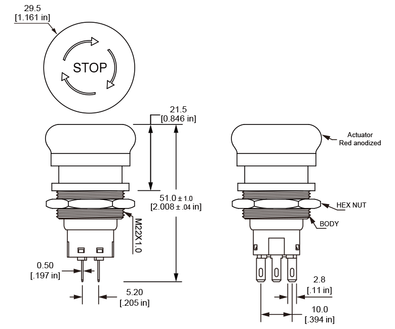 ES22 Smooth Edge Emergency Stop Switch